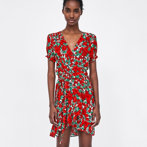 8f2c0881 Zara Dresses | Current Red Floral Print Wrap Ruffle Dress Sm | Poshmark